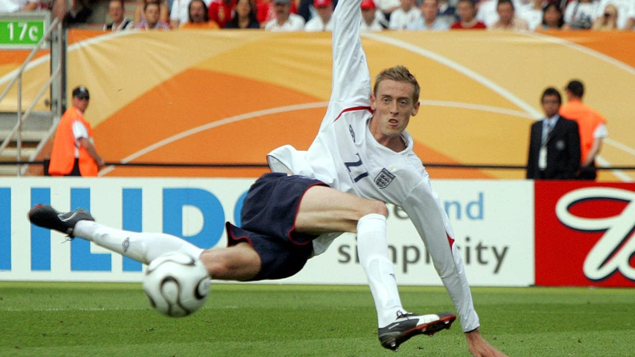 Crouchy spoons a shot wide before scoring the winning goal for England against Trinidad and Tobago at the 2006 World Cup.