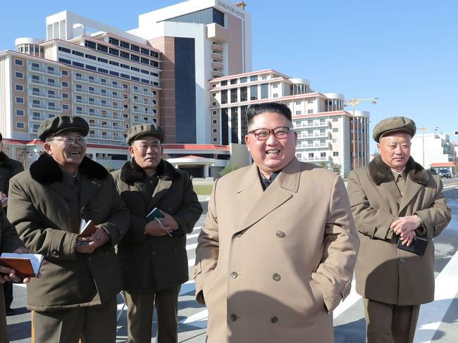 Mr Kim also inspected construction sites in Samjiyon County near Mount Paektu. Picture: STR/KCNA VIA KNS/AFP