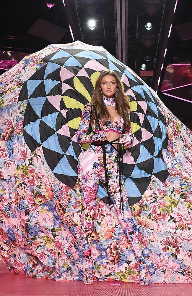 Gigi Hadid walks the runway during the 2018 Victoria's Secret Fashion Show in New York City. Picture: Getty Images