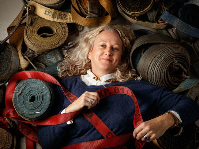 Jane Skeer has created artworks from recycled truck ratchet straps, one of which is a finalist in the The Advertiser Contemporary Art Award. Picture: MATT TURNER