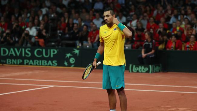 Nick Kyrgios celebrates at match point after his five set win against Steve Darcis.
