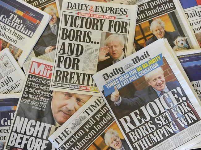 UK newspapers were plastered with the election results on Friday. Picture: DANIEL SORABJI / AFP.
