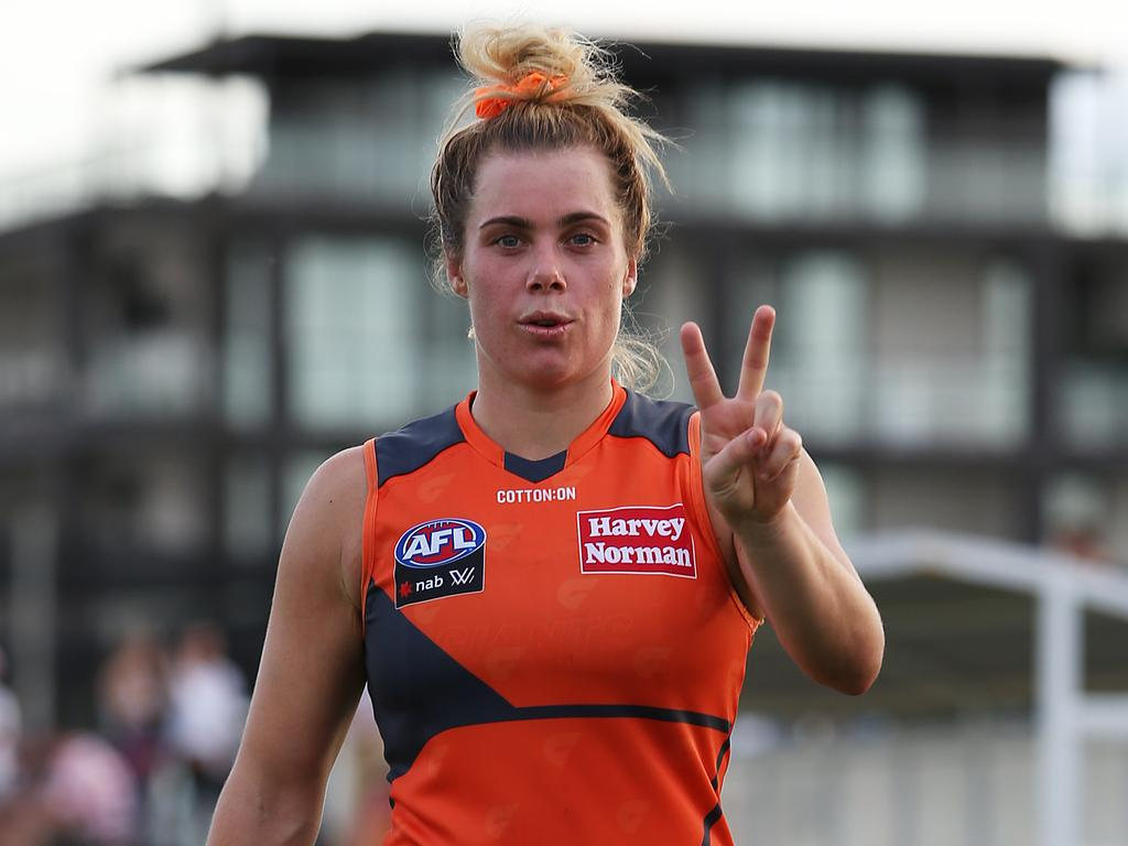 WAGGA WAGGA, AUSTRALIA - MARCH 07: Jacinda Barclay of GWS Giants walks off the field after victory in the round five AFLW match between the Greater Western Sydney Giants and the Richmond Tigers at Robertson Oval on March 07, 2020 in Wagga Wagga, Australia. (Photo by Jack Thomas/Getty Images)