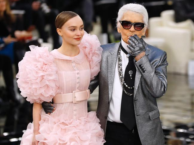 Karl Lagerfeld with Chanel muse Lily-Rose Melody Depp, the daughter of Johnny Depp and Vanessa Paradis. Picture: AFP