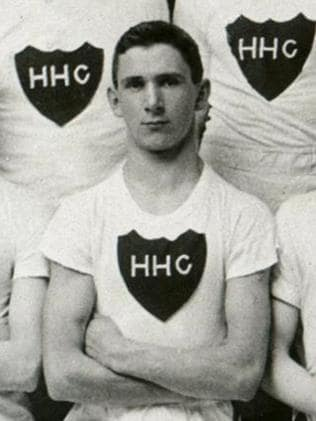 Claude Clark in his Hobart Harriers Club running gear before the war.