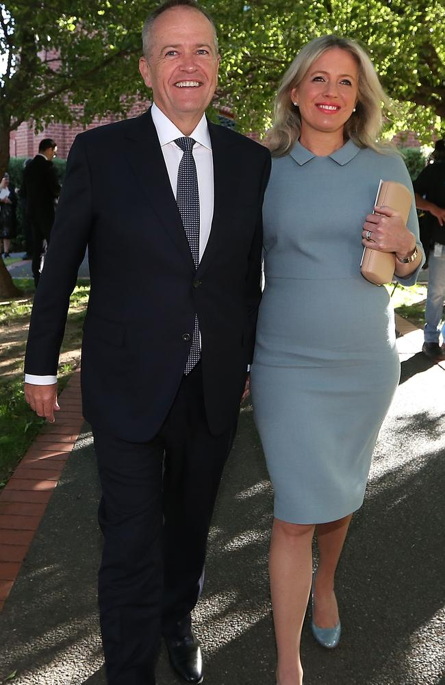 A new poll says voters are happy with neither Bill Shorten (above with his wife Chloe), nor the PM and 28pc will vote for a minor party. Picture: Kym Smith.