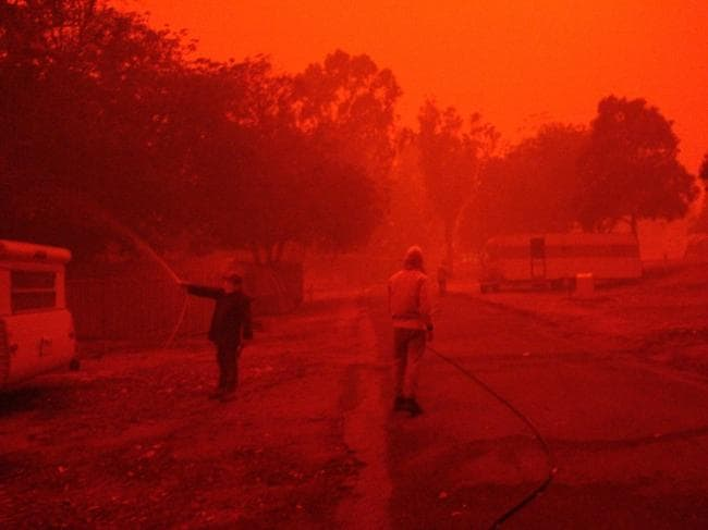 Gippsland fires covering Mallacoota in red haze. Picture: Trevor Jay