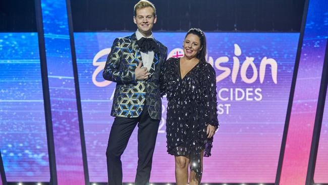 Joel Creasey and Myf Warhurst will once again host Eurovision for Aussie audiences this year.