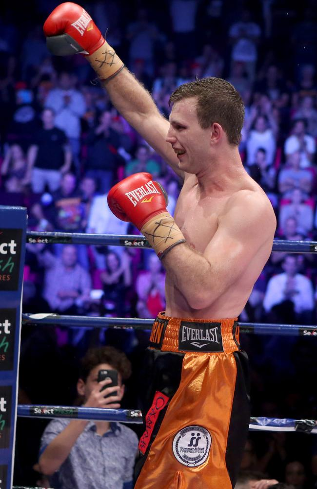 Jeff Horn celebrates his win against Randall Bailey.