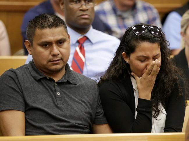 People in the courtroom reacts after Cristhian Rivera's initial court appearance. Picture: AP