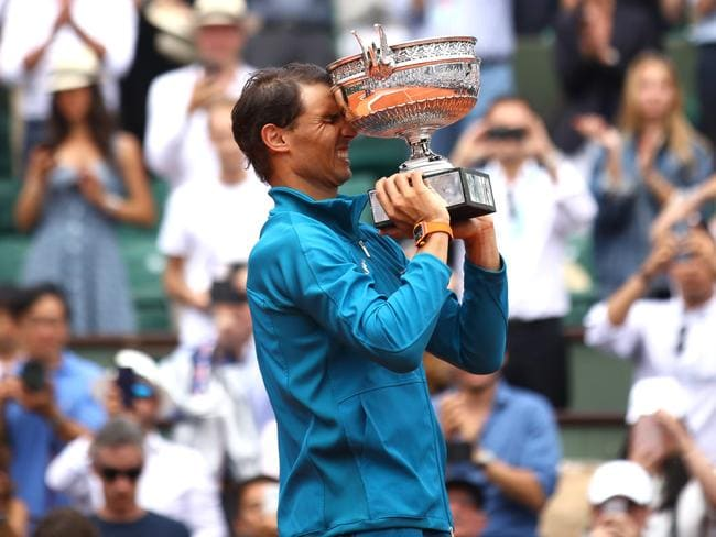Rafael Nadal with the French Open trophy. Picture: Getty