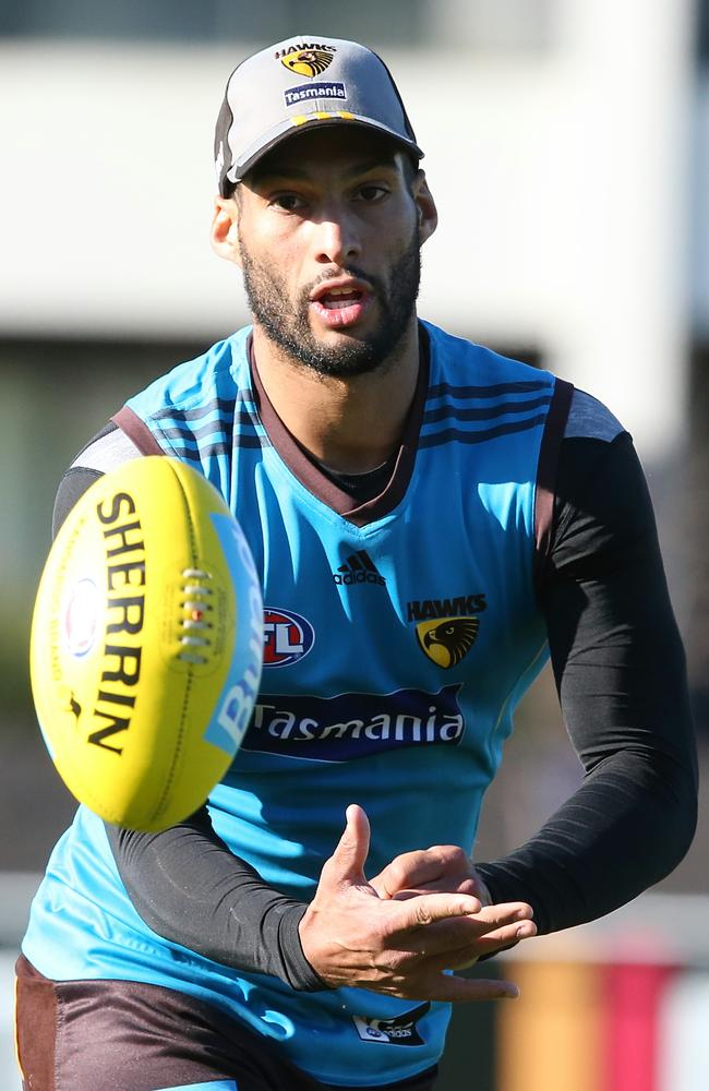 Hawk Josh Gibson is set to return to take on Lance Franklin. Picture: Wayne Ludbey