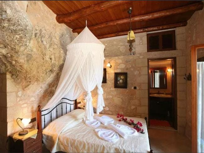 This stone villa in Crete will keep you cool in summer. Picture: Airbnb