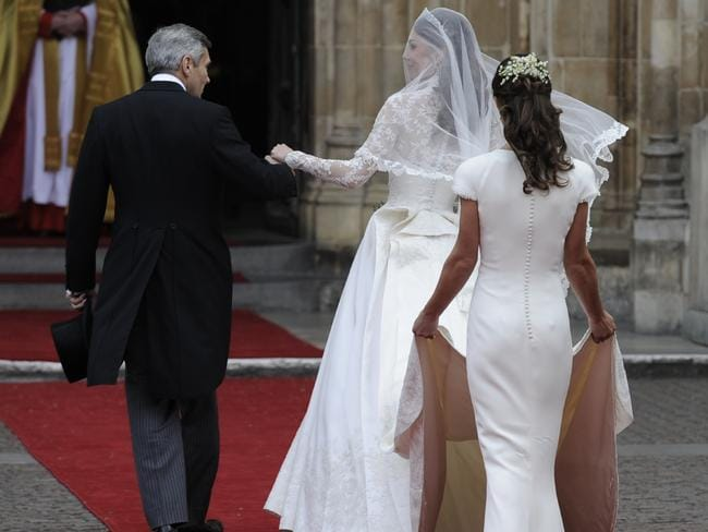 Kate Middleton with her father, Michael Middleton and her sister Pippa at the Royal Wedding in 2011.
