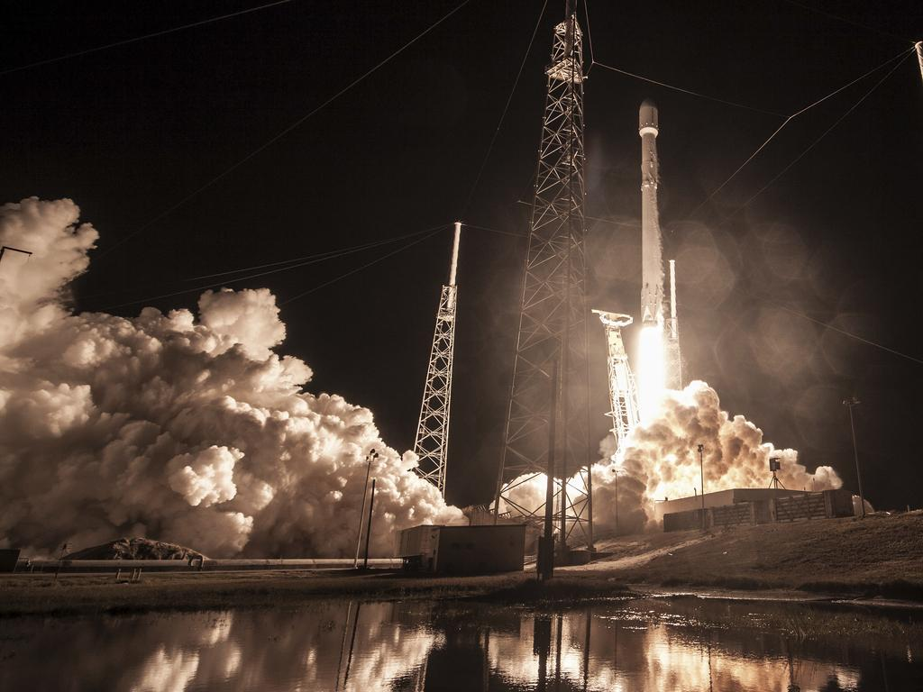 """This Sunday, Jan. 7, 2019 photo made available by SpaceX shows the launch of the Falcon 9 rocket at Cape Canaveral, Fla., for the """"Zuma"""" U.S. satellite mission. Responding to media reports that the satellite was lost, SpaceX President Gwynne Shotwell says the rocket """"did everything correctly"""" and suggestions otherwise are """"categorically false."""" (SpaceX via AP)"""