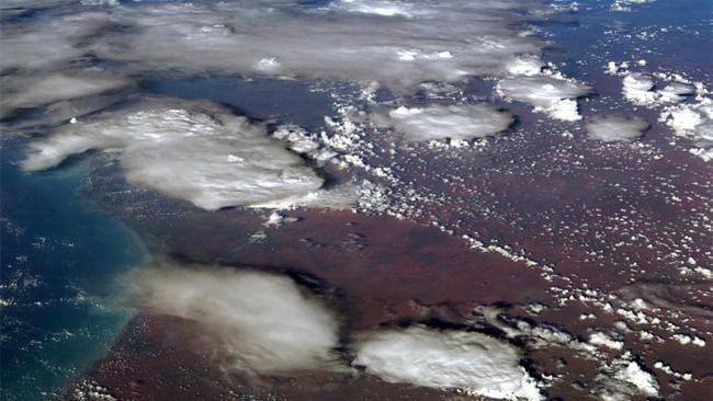 A photo taken by US astronaut Commander Chris Hadfield aboard the International Space Station shows smoke clouds from bushfires across Australia. Picture: Chris Hadfield/Twitter