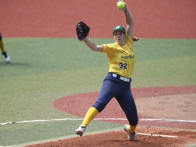 Kaia Parnaby was Australia's best pitcher throughout the tournament. Pic: World Baseball Softball Confederation