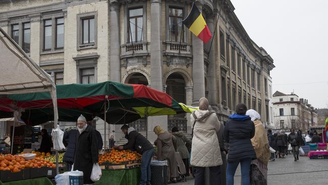 People strolling and shopping in the main square in Molenbeek during market day. Picture: Ella Pellegrini