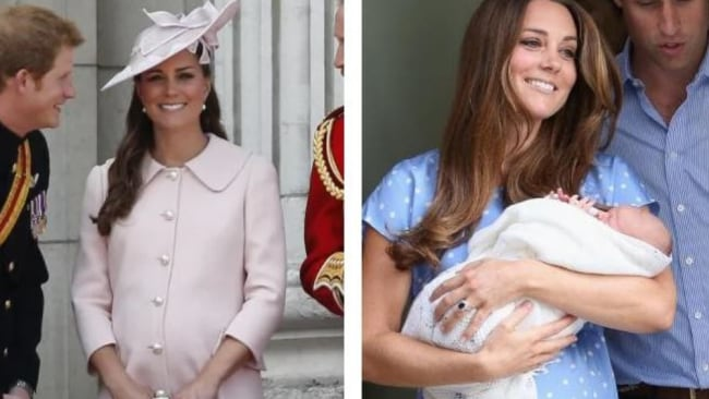Kate at her last official engagement before George's arrival. L Picture: Sang Ta/AP // R Picture: Kate 37 days later with freshly-born George. Picture: Chris Jackson/Getty Images
