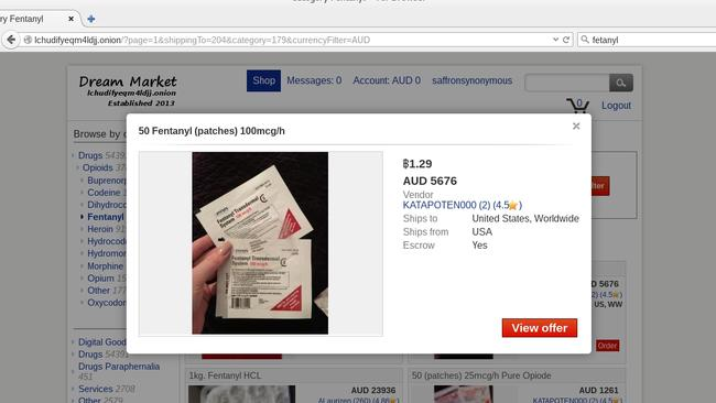 """The drug, 50 times more powerful than heroin and 100 ties stronger than morphine, is doing sold to Australians on the Dark Web in the form of """"gel patches"""". Picture: Supplied"""