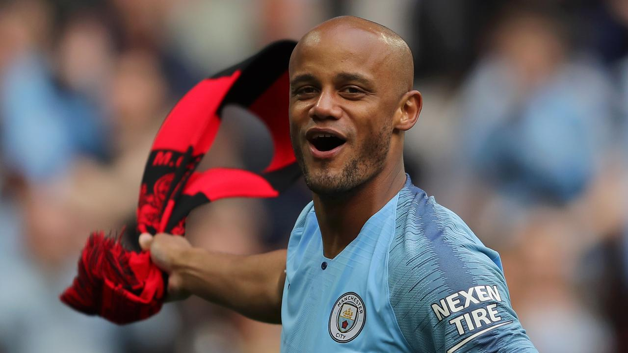 Vincent Kompany celebrating Manchester City's FA Cup triumph over Watford.
