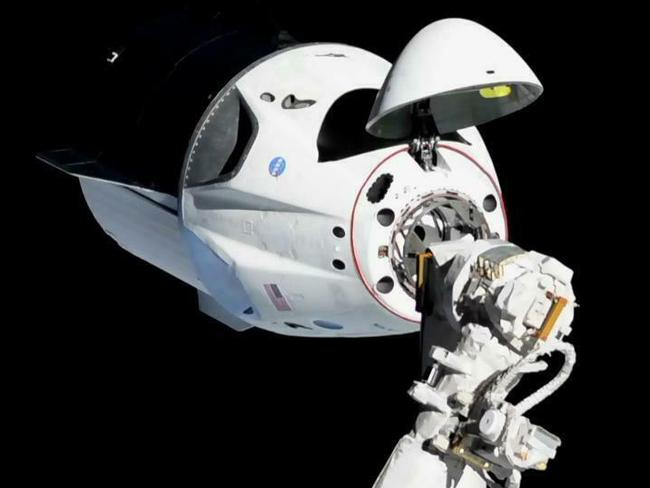 The SpaceX Crew Dragon about 20m away from the International Space Station. Picture: NASA via AP