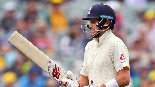 England batsman Joe Root walks off after a brief stay in the middle.