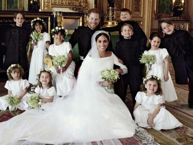 The Duke and Duchess of Sussex in an official photograph with their bridesmaids and pageboys. Picture: Kesington Palace/MEGA