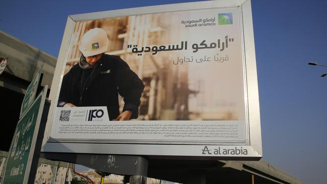 An advertisement for Saudi Arabia's state-owned oil giant Aramco that translates to 'Saudi Aramco, soon on stock exchange'. Picture: AP Photo/Amr Nabil