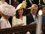 Britain's Camilla, Duchess of Cornwall, Britain's Catherine, Duchess of Cambridge, Britain's Prince Andrew, Duke of York and Britain's Princess Beatrice of York wait in the chapel ahead of the wedding ceremony of Britain's Prince Harry, Duke of Sussex and US actress Meghan Markle in St George's Chapel, Windsor Castle, in Windsor, on May 19, 2018. Credit: AFP PHOTO / POOL / Jonathan Brady