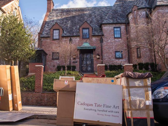 This file photo taken on January 18, 2017 shows a moving truck outside the new home of outgoing US President Barack Obama in the Kalorama neighbourhood of Washington, DC. Picture: AFP