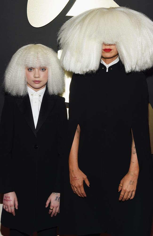 Sia and mini-Sia, aka Maddie Ziegler at the Grammys.