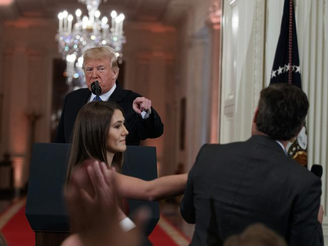 The new rules for reporters come into effect following a stoush between CNN reporter Jim Acosta and President Donald Trump during a press conference at the White House. Picture: AP