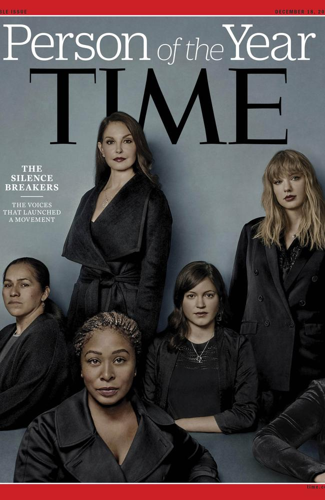 The cover of Time magazine's Person of the Year edition as 'The Silence Breakers' — those who have shared their stories about sexual assault and harassment. Picture: Time Magazine/AP
