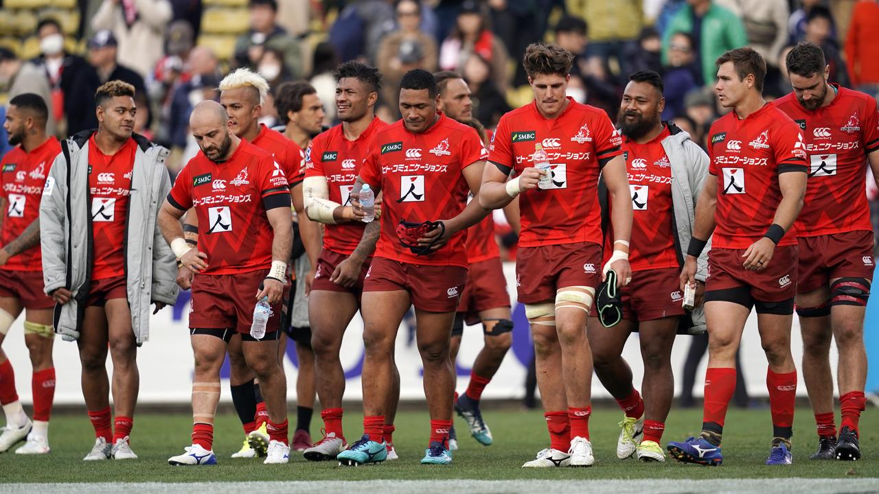 Sunwolves players show dejection at Prince Chichibu Memorial Ground in Tokyo.