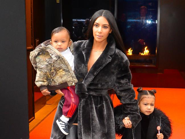 Television personality Kim Kardashian West with eldest daughter North and son Saint in NYC. Picture: Raymond Hall/GC Images