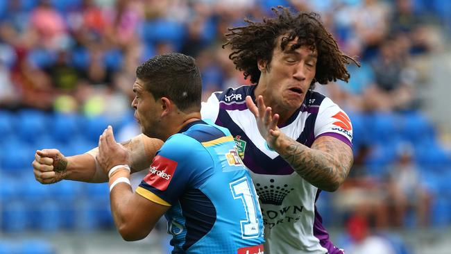 Ashley Taylor is hit by Kevin Proctor.