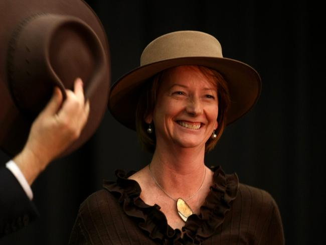 Julia Gillard not looking particularly at home in an Akubra.