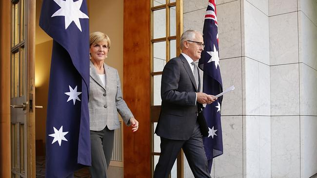 'Renewal' ... Foreign Minsiter Julie Bishop and PM Malcolm Turnbull in Canberra. Picture: Getty Images