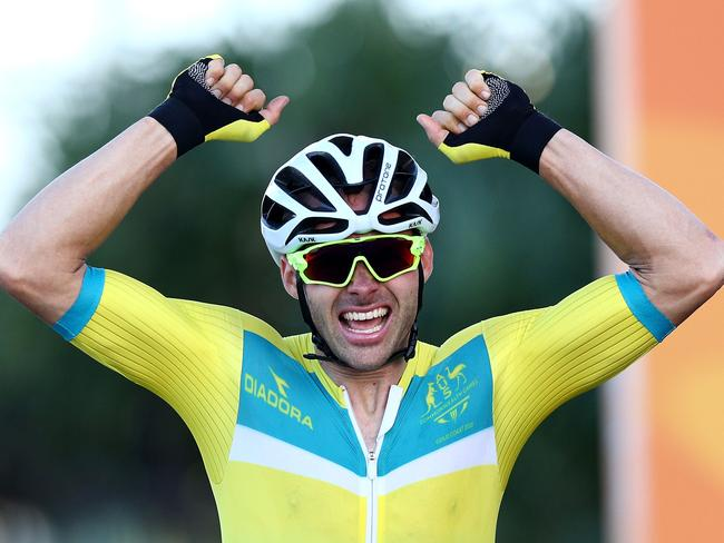 Steele Von Hoff of Australia celebrates victory in the Men's Road Race