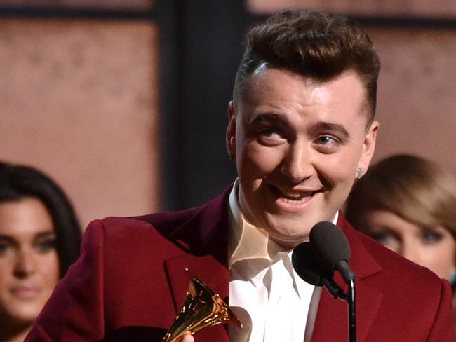 Celebrating his first of four awards ... Sam Smith accepts the Best New Artist award. Picture: Kevork Djansezian/Getty Images/AFP