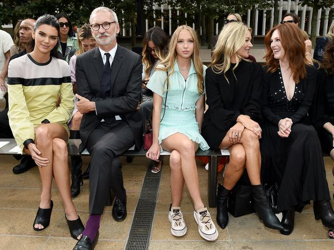 Kendall Jenner, Jean Cassegrain, Lila Moss, Kate Moss, Julianne Moore, and Linda Cardellini at Longchamp. Picture: Getty Images