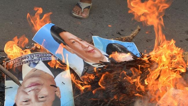 Indian protesters have demanded a ban on Chinese goods after the clashes. Picture: Diptendu Dutta/AFP