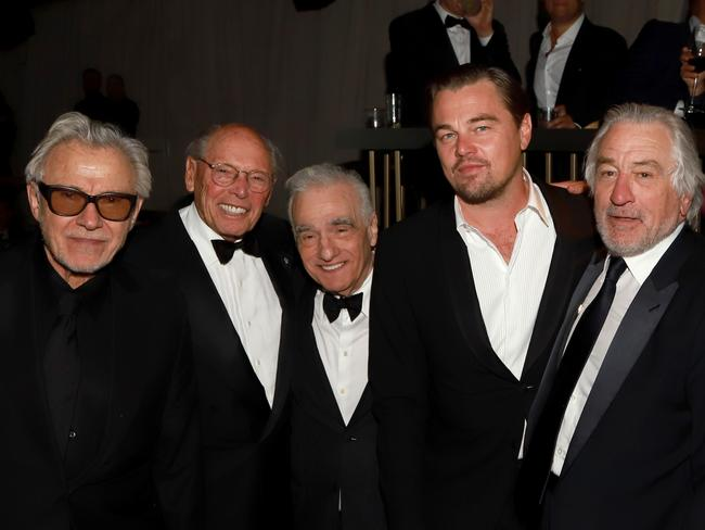 Harvey Keitel, Irwin Winkler, Martin Scorsese, Leonardo DiCaprio, and Robert De Niro at the Netflix's Golden Globes party. Picture: Getty Images for Netflix