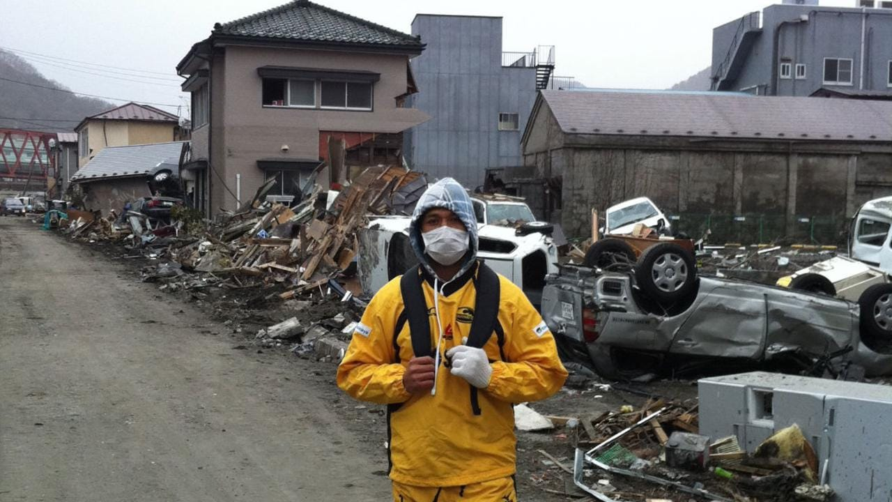 Former All Black and Kamaishi Seawaves player Pita Alatini helps with the clean up operations in the tsunami ravaged city.