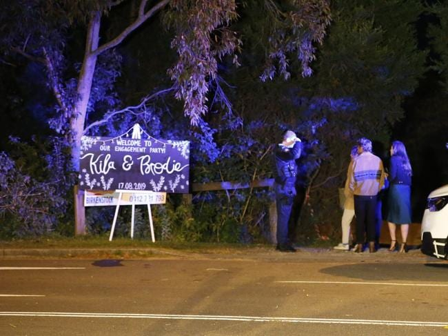 A sign for the engagement party was set up out the front of the property. Picture: Steve Tyson
