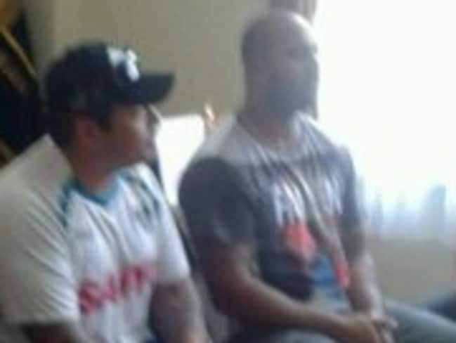 Getting briefed ... Andrew Chan and Myuran Sukumaran on Tuesday afternoon, when they were toldm ore details about their transfer to Nusakambangan Island. Picture: Supplied