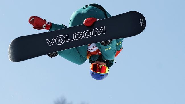 Scotty James of Australia warms up ahead of the Snowboard Men's Halfpipe Qualification.