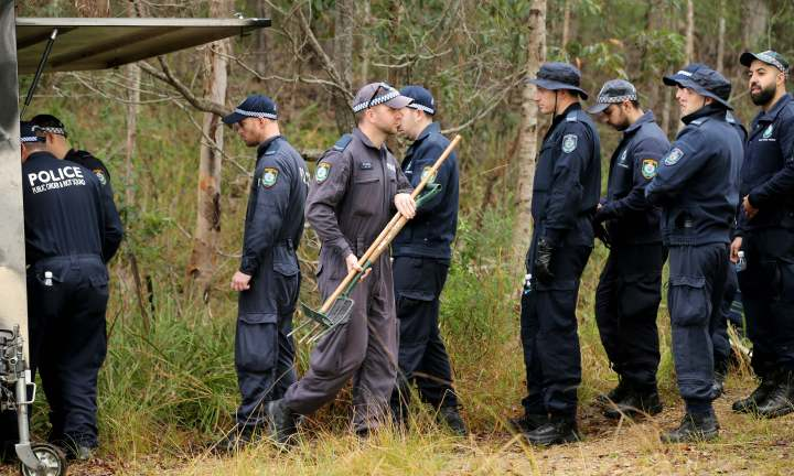 Police search for forensic evidence relating to the disappearance of William Tyrell in the small town of Kendall on the NSW mid north coast. . Pic Nathan Edwards