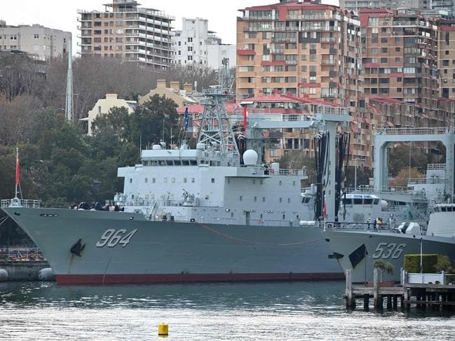 Chinese warships docked at Garden Island naval base in Sydney. Picture: Peter Parks/AFP
